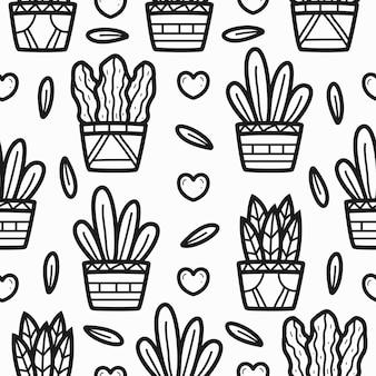 Cartoon plant doodle pattern design