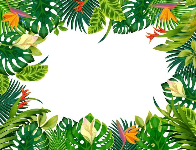 漫画の植物フレーム。つる植物の枝と熱帯の葉、白い背景で隔離の植物のゲームの境界線。テキストのスペースの森の葉とベクトルイラストジャングルゲーム画面のクローズアップ