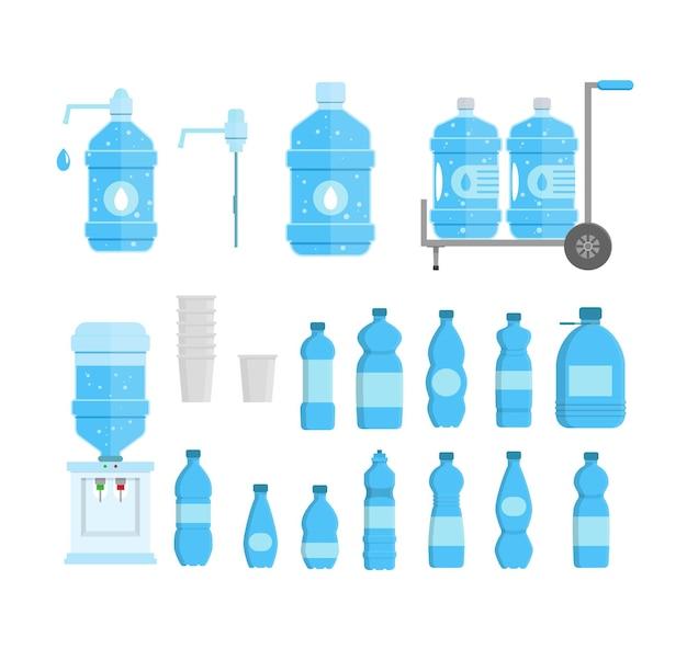 Мультфильм пластиковые синие бутылки для жидкости, воды с крышкой и элементом службы доставки набор плоский стиль дизайна. векторная иллюстрация
