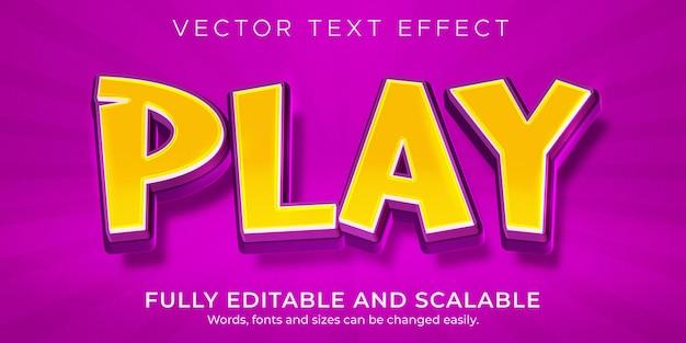 Cartoon play text effect, editable comic and fun text style
