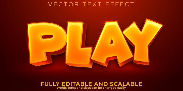 Effetto testo di riproduzione dei cartoni animati, stile di testo modificabile e divertente