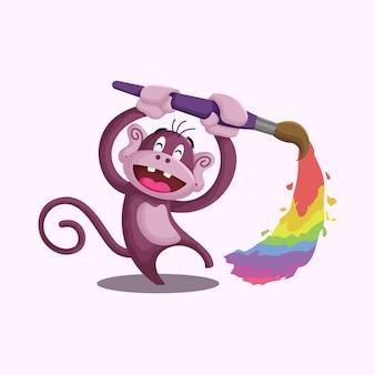 Мультяшная игривая обезьяна рисует иллюстрацию радуги