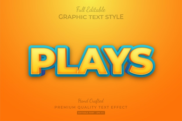 Cartoon plays editable custom text style effect premium