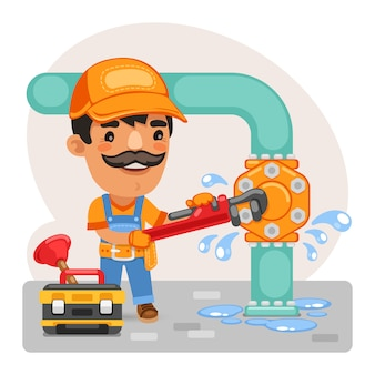 Cartoon plumber repairing a pipe