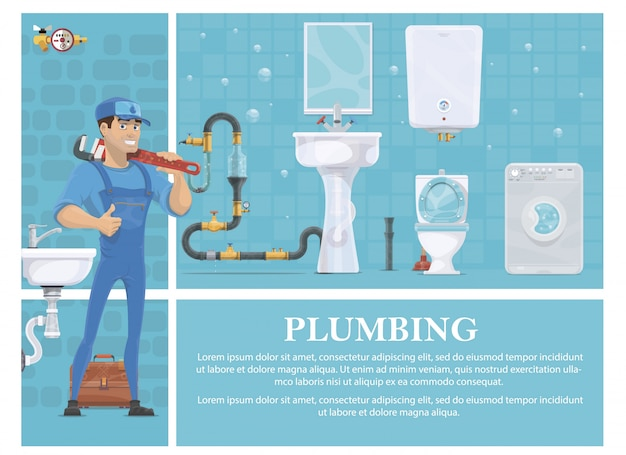 Cartoon plumbing composition with plumber in uniform holding pipe wrench washing machine mirror heating boiler toilet washbasin toolbox sewerage