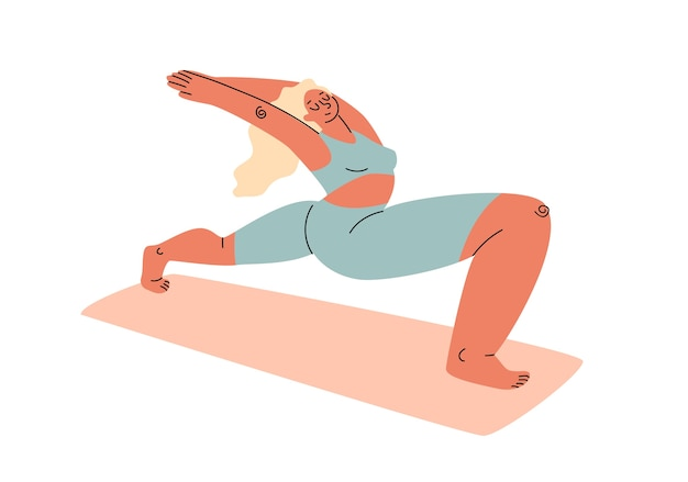 A cartoon plump woman in a tracksuit stretching out on a gymnastic mat