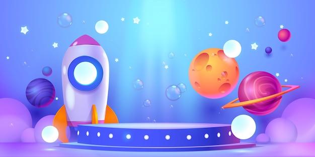 Cartoon podium background design illustration