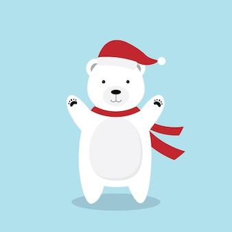 Cartoon polar bear in christmas hat