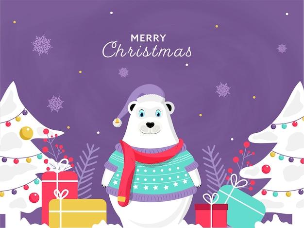 Мультяшный белый медведь в шерстяной одежде с подарочными коробками и декоративными рождественскими елками на фиолетовом фоне для празднования рождества.