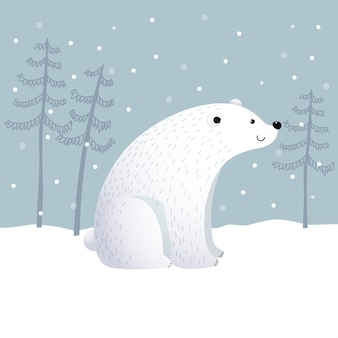 Cartoon polar bear with winter landscape scene on a snowy day.