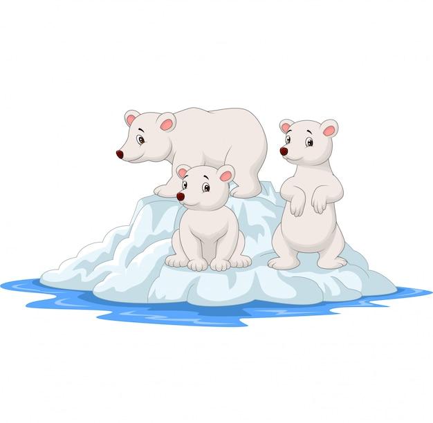 Cartoon polar bears family on icebergs