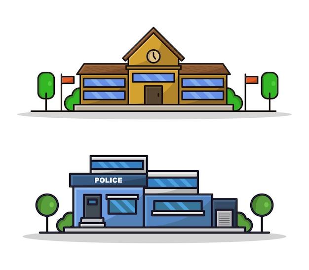 漫画の警察と学校のセット