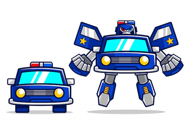 Cartoon police car robot transform