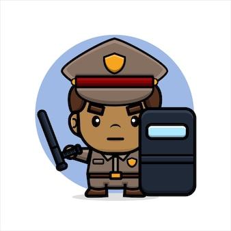 만화 경찰은 막대기와 진압 방패를 잡고