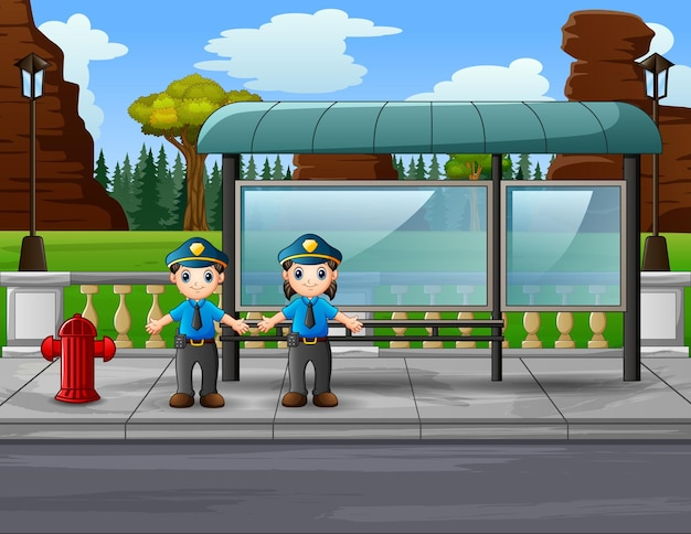 Cartoon the police managing traffic on the road