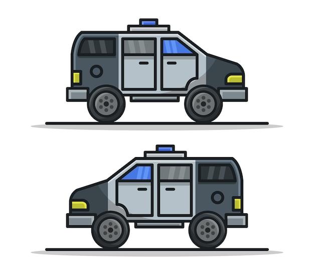 漫画の警察のバン