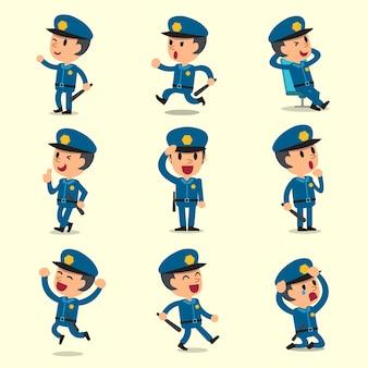 노란색 배경에 만화 경찰관 캐릭터 포즈