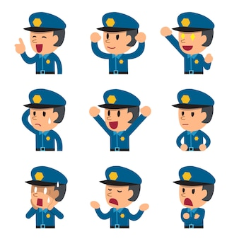 Cartoon policeman faces showing different emotions