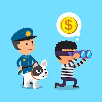 강아지와 도둑 뒤에 서있는 만화 경찰관