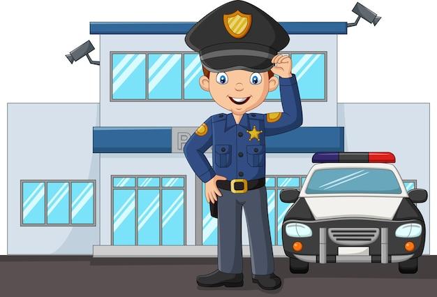 도시 경찰서 건물에 서 있는 만화 경찰관 프리미엄 벡터
