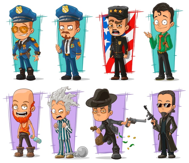 Cartoon policeman in uniform and gangster set