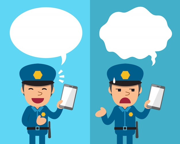 Cartoon policeman with smartphone expressing different emotions with speech bubbles