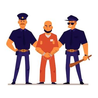 オレンジ色の刑務所の制服を着た手錠をかけられた犯罪者を保持している漫画の警官