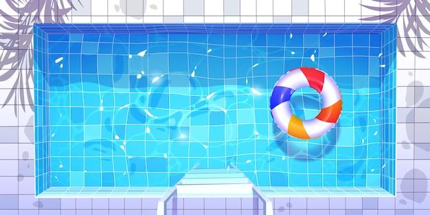 Вид сверху мультфильм бассейн