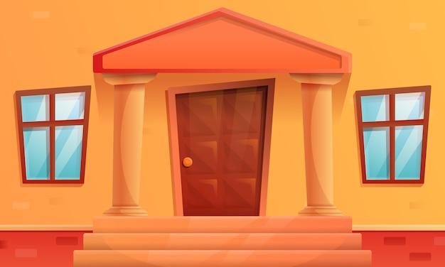 ドアが付いている家のポーチを漫画、ベクトルイラスト