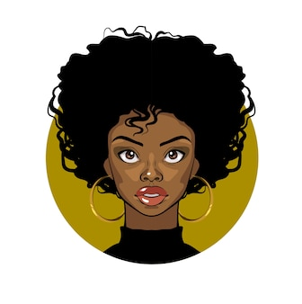 Cartoon portrait of an afro american girl with curly hair, big eyes and golden earrings