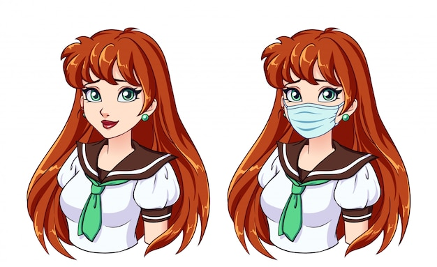 Cartoon portrait of cute girl with long red hair and wearing medical mask
