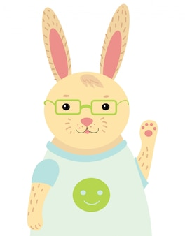 A cartoon portrait of a hare. stylized happy rabbit with glasses. drawing for children.