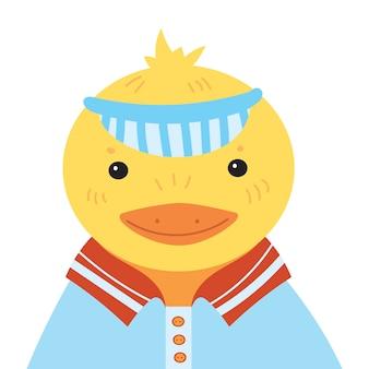 Мультфильм портрет утенка. стилизованная счастливая утка в кепке. рисование для детей.