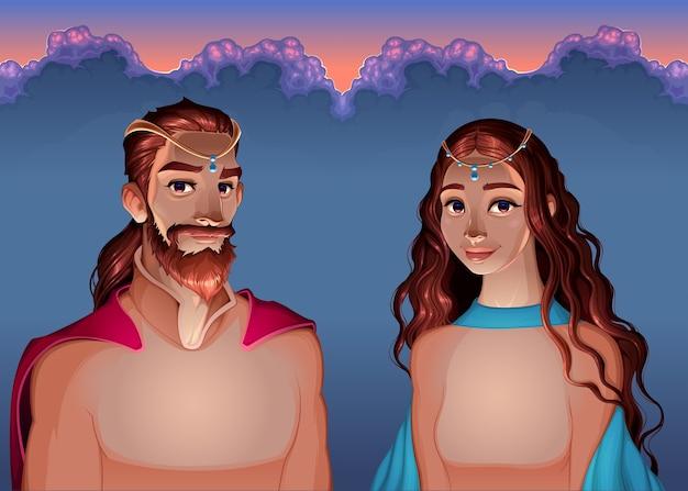 王と女王の漫画の肖像画。