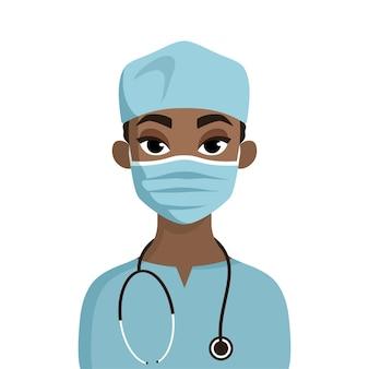 聴診器を持つ外科医の漫画の肖像画。医療用マスクの医師