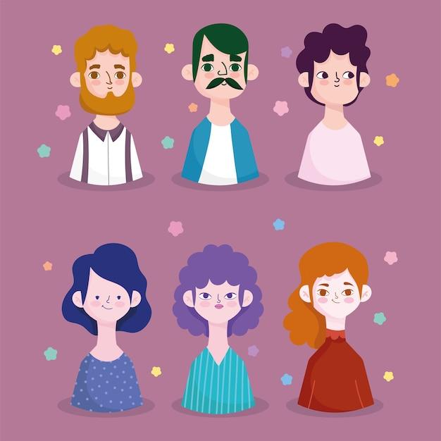 Мультфильм портрет мужчин и женщин аватар символы символов