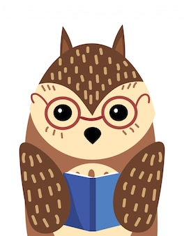 A cartoon portrait of an owl with a book.  illustration of a bird for a postcard.