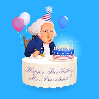 Cartoon portrait of president george washington. founding father sitting at the round table and blows out the candles on the birthday cake which is decorated in the style of american flag.