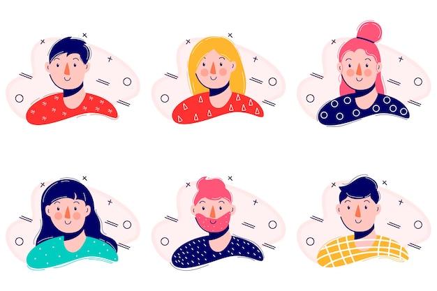 Мультипликационный портрет. простой современный дизайн. плоский персонаж иллюстрации. икона. современная плоская коллекция с набором иконок молодых людей. цвет .