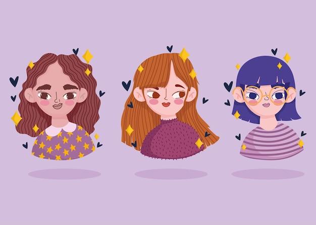 만화 초상화 세 여자 젊은 여성 클립 아트