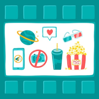Cartoon poster cinema concept, 3d glasses, popcorn, drink, phone, planet, film strip.