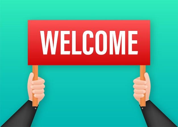 Мультфильм плакат на приветственный текст с рукой, держащей плакат для дизайна баннера. баннер, дизайн рекламных щитов. векторная иллюстрация штока.