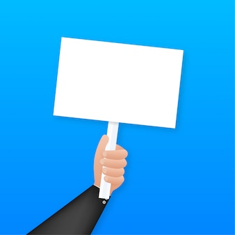 Cartoon poster with hand holding placard for  . , billboard .   illustration.