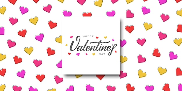 Cartoon poster with typography logo for happy valentines day