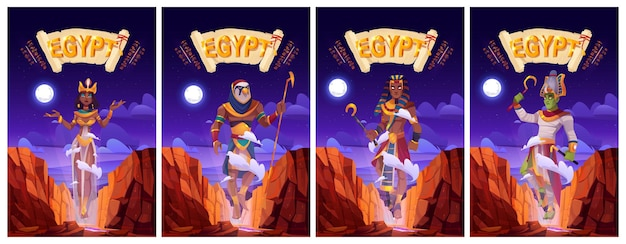 Cartoon posters set with egyptian gods