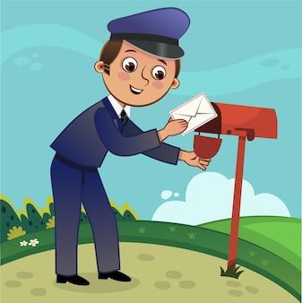 Почтальон мультфильм характер векторные иллюстрации