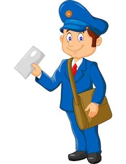 Мультяшный почтальон, держащий почту и сумку