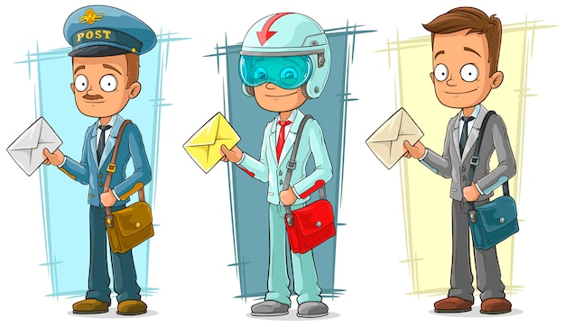 Cartoon postman with letter character set