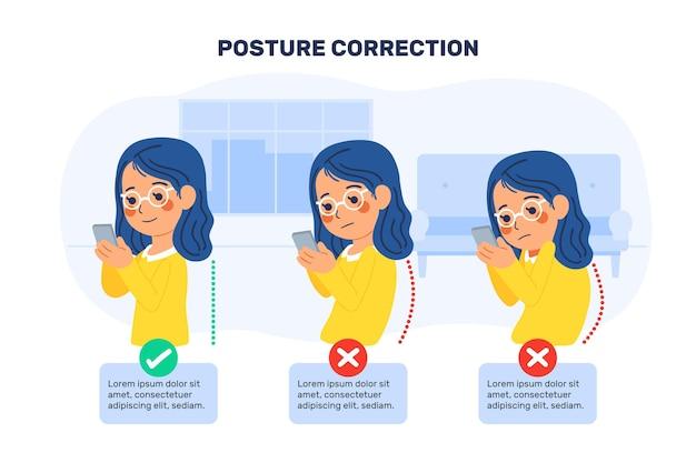 Cartoon postura correzione infografica