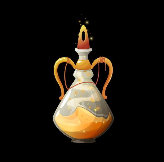 金色のほこり、輝く星と輝く栓が付いているガラスのフラスコのベクトル魔法の秘薬と漫画のポーションボトル。瓶の中の魔法使いの妖精の呪文、guiデザイン要素、孤立した魔女の毒、錬金術オブジェクト